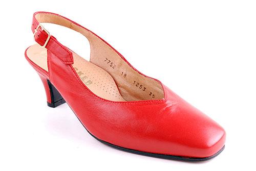 Slingback röd Lädersula